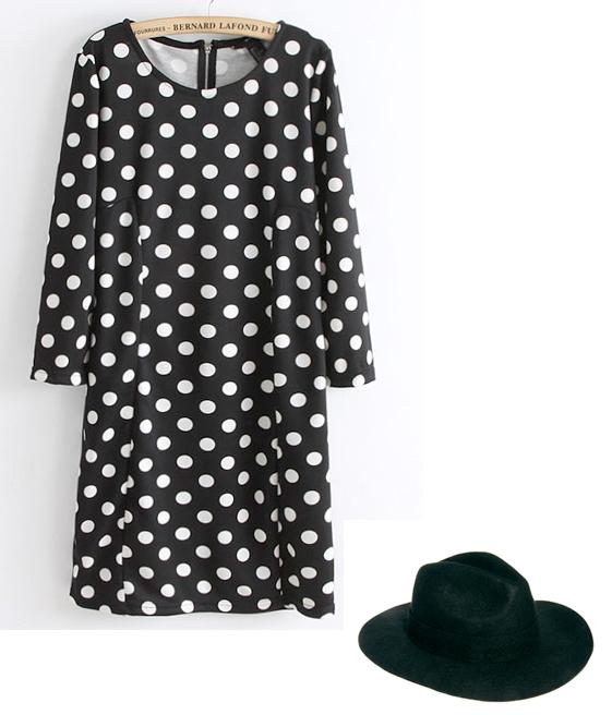 Sheinside black spot dress and black ASOS fedora